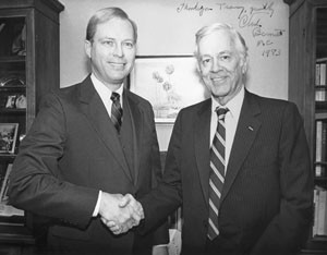 Congressman Charles E. Bennett (D-FL) thanks Dr. Tracy D. Connors for serving as Bennett's Chief of Staff.